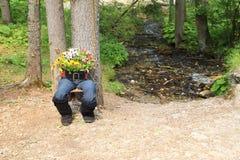 Pot de fleurs avec des jambes images stock