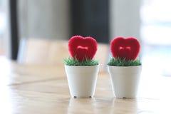 Pot de fleurs avec le coeur artificiel placé sur la table Photo stock
