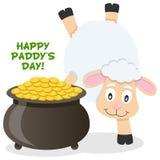 Pot de jour de Patrick s d'or et de moutons Image stock