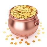 Pot de jour de St Patricks avec les pièces de monnaie d'or Photographie stock libre de droits