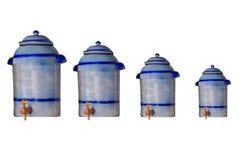 Pot de la poterie de terre 4 comme pot au vinaigre Photo libre de droits