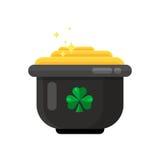 Pot de lutin d'icône d'or dans la conception plate de style illustration de vecteur