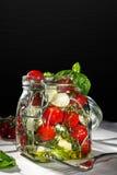 Pot de maçon avec les légumes mélangés frais Images stock