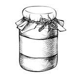 Pot de maçon tiré par la main d'encre de croquis, bouteille Photographie stock