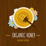 Pot de miel avec une cuillère sur la table en bois Vue supérieure Illus de vecteur illustration de vecteur