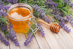 Pot de miel liquide avec la lavande image stock