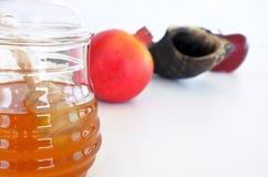 Pot de miel, Shofar de grenade et pomme rouge Photographie stock