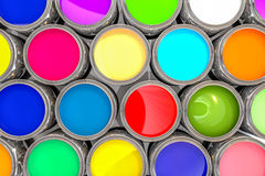 pot de peinture 3D coloré par rendu Photos stock