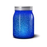 Pot de scintillement Objet réaliste avec les étincelles bleues brillantes Images libres de droits