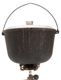Pot de suie campant sur le brûleur à gaz d'isolement Photographie stock libre de droits
