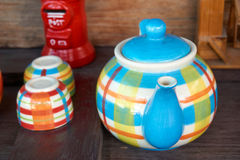 Pot de thé avec la tasse Image libre de droits