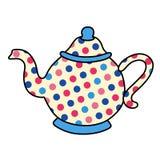Pot de thé de point de polka Image libre de droits