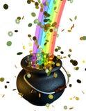 POT delle monete di oro all'estremità del Rainbow Fotografia Stock Libera da Diritti