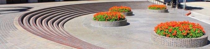 POT di fiore del mattone Fotografia Stock Libera da Diritti