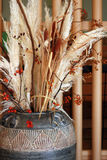 Pot of dried plants. Details of a pot of beautiful dried plants in Fall colors Royalty Free Stock Photo