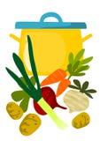 POT e cose per minestra saporita Immagini Stock Libere da Diritti