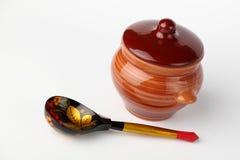 POT e cucchiaio di ceramica Immagini Stock Libere da Diritti
