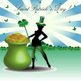 POT e leprechaun dorati Immagine Stock