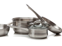 POT e vaschette dell'acciaio inossidabile Fotografia Stock