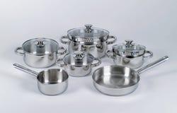 POT e vaschette dell'acciaio inossidabile Fotografia Stock Libera da Diritti