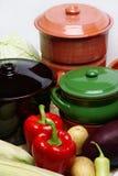 POT e verdura differenti Fotografie Stock Libere da Diritti