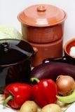 POT e verdura differenti Fotografia Stock
