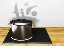 pot on the electric stove throwing a shadow with vegetables Stock Photography