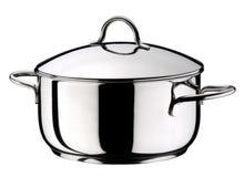 Pot en acier avec le couvercle Photo stock