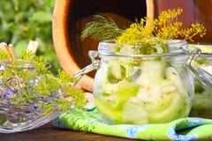 Pot en pierre, conserves au vinaigre, conserves au vinaigre de moutarde, cornichons Photographie stock libre de droits