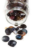 Pot en verre avec des boutons d'isolement Images libres de droits