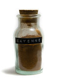 Pot en verre d'épice de poivre de Cayenne photos stock