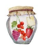 Pot en verre d'aquarelle pour la confiture avec le label pour une inscription et des baies Roue dentée Pour la conception, tex Photographie stock