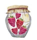 Pot en verre d'aquarelle pour la confiture avec le label pour une inscription et des framboises Roue dentée Pour la conception, Photographie stock libre de droits