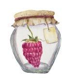 Pot en verre d'aquarelle pour la confiture avec le label pour une inscription et une framboise Photographie stock