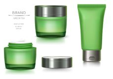 Pot en verre vert et tube en plastique photographie stock