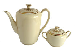 Pot et sucrier de café de porcelaine images libres de droits