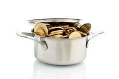 Pot with euro coins. A cooking pot is well filled with euro coins, symbolic photo for funding Royalty Free Stock Photography