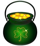 Pot filled with gold coins. Cauldron with gold, Celtic mythology, Irish holidays. Symbols of St. Patrick`s Day. Green cauldron with clover leaf. Pot of royalty free illustration