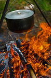 Pot on the fire. Pot wit boiling water on the fire in camping Royalty Free Stock Image
