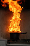 Pot on fire Royalty Free Stock Images