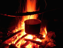 A pot on fire Royalty Free Stock Photography