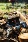 Pot on the fire. Cooking food in a pot on the fire royalty free stock image