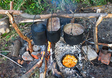 Pot on the fire. Cooking food over a fire in the campaign Royalty Free Stock Photo