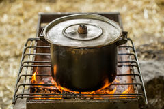 The pot on the fire Royalty Free Stock Photography