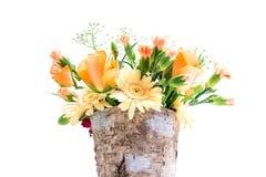 Pot with a flower bouquet Stock Photos