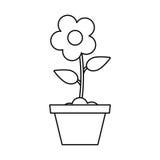 pot flower garden thin line Stock Photo
