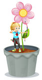A pot with a flower and a girl at the top. Illustration of a pot with a flower and a girl at the top on a white background Royalty Free Stock Photo