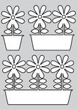 Pot of flowers icons isolated on gray Royalty Free Stock Photography