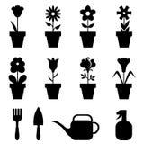Pot flowers icons set Royalty Free Stock Photo