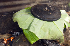 Pot of food outdoor cooking Nicaragua Royalty Free Stock Photos